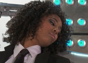 Black girl Misty Stone copulates a throbbing toy into will not hear of love tunnel