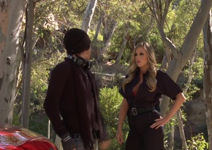 Samantha Saint bent over the hood of his motor vehicle and fucked doggystyle