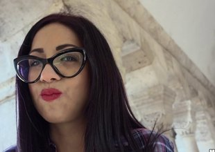 Darksome haired Latin chick student in glasses picked in the matter of and fucked hard