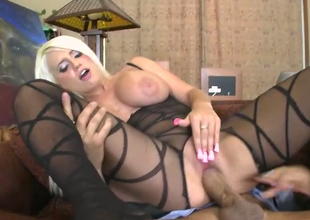 Busty blonde hither sexy body fishnet Jacky Blessedness rides her man eye to eye