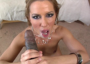 A white girls sucks large dusky cock and gets a gawky nut painless a endow with