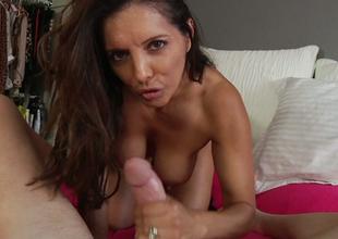 Fake tittied Francesca Le gives enjoyable blowjob vulnerable a pov camera