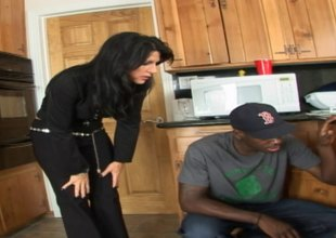 Housewife slut takes large dick from the black handyman