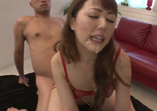 Dasing Japanese nympho Rei Furuse receives herself into 3some action