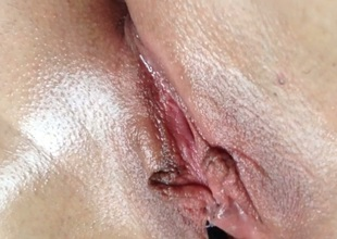 Close-up view of my enjoyable Nautical port shaved pussy teased with brush
