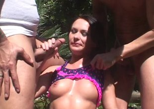 Salacious babes sucks a knob pending hardcore double penetration to an outdoors orgy