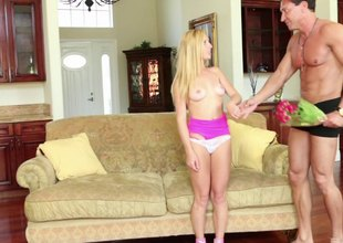 Appealing murkiness hair Taylor Whyte and a teen being drilled on touching various positions