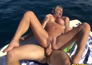 Huge breast bounce on a boat