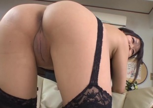 Asian hottie gets the brush butt hole stretched with carnal knowledge toys