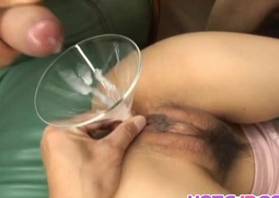 Miina Minamoto is aroused hither vibrator increased by gets cum nearby assh