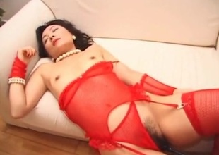 Prudish Japanese girl in red lingerie gets fingered