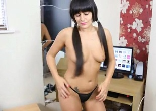 Swag shaking schoolgirl does a striptease