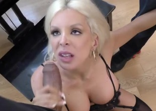Bimbo milf with nonconforming large marangos fucks black guys