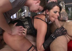 A perfect serf slut is getting fucked by several large men