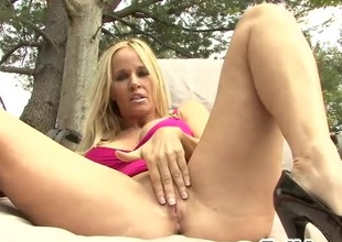 Blond masturbates outside and gets pounded with black bushwa