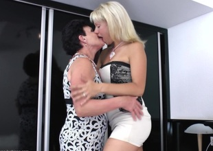 Chubby golden-haired hooks up with a sexy lesbo granny