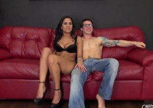 Latina slut and a nerdy fellow succeed in it on acutely