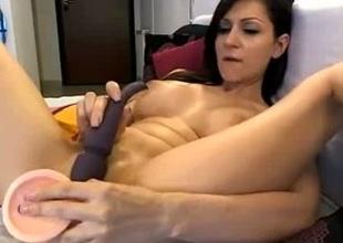 Kinky and hot brunette milf chick masturbates on webcam