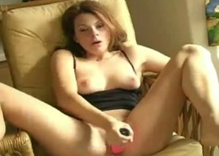 Redhead hot milf colourless lady in enlivened solo masturbation