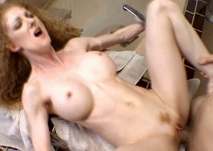 Effusive bewhiskered red-hot haired bitch wanna receive her hungry cunt fucked
