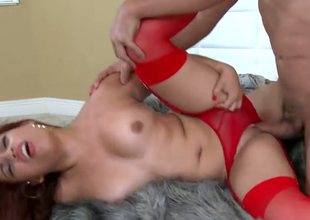 Sex-appeal bitch in red underware and stockings Marcella gets will not hear of pussy fucked
