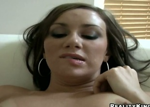 Brunette with champagne booty and insipid beaver gives beast abysmal blowjob hot guy