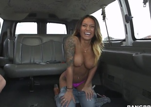 Busty Latin coddle is fucked first of all the bus