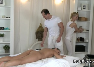 Prop of masseurs fucks hairy white-headed