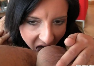 Aneta B is in heaven engulfing dudes thick cock