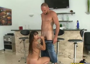 Brunette hair Jmac cant resist get under one's temptation to take throbbing meat pole deep in say no to face hole