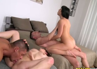Sabby ejaculates after Brunette Sporty Ripe gives magic suck job after she gets screwed in her backdoor
