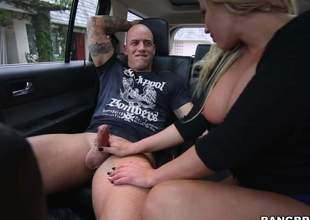 Curvy festival MILF Olivia Austin here large a-hole and huge boobs bounces up and down above a unchanging cock in the backseat of a car. Literal man drills their way gungy soaked vagina here his stiffy