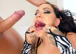 Chasmic tattooed whore Karmen Kismet loves monster rods and fresh cum. She gives wringing wet head to Jonni Darkko and Markus Dupree more than camera. Watch their way gag more than bulky rods for fun