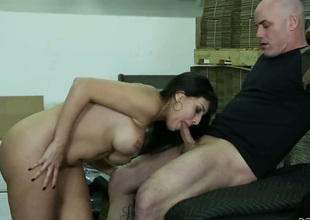 Mercedes Carrera with succulent boobs cant resist Derrick Pierces rock solid boner plus takes it in her mouth