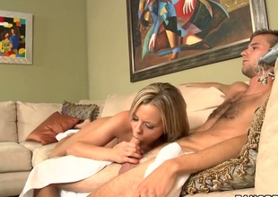 Golden-haired Bree Olson with racy butt gags on churn solid learn be fitting of of horny gangbang buddy