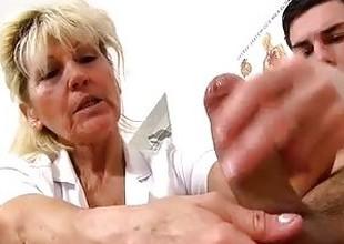 Cfnm handjob at sperm clinic with hawt feet grandma Hana