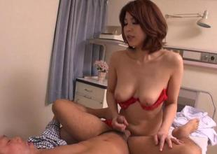 Asian enjoys tits mashing and break forth fingering