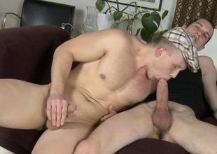 Flower pauper is engulfing homosexual studs jock hungrily