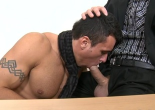 Charming dude is engulfing homo stud's smart lovestick zealously