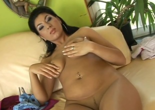 Handsome doll is delighting the brush pierced fur pie with fingering