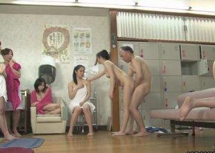 Amateur Asian teen hotties have gangbang at a spa