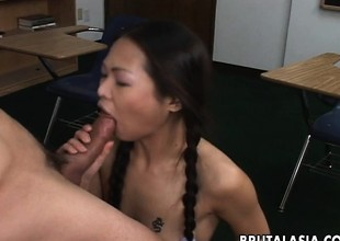 Oriental schoolgirls more a shaven pussy gets fucked