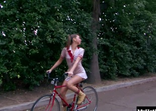 Riley Reid was riding here the street vulnerable her bike