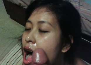 Maggie can't follow without wide engulf farang dick and swallow cum!