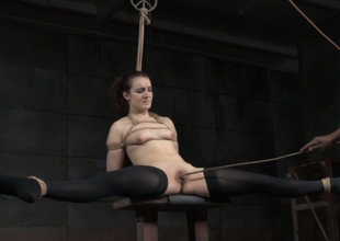 Darksome ray treats submissive brunette in a unqualifiedly hardcore enslavement way