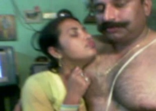 Chubby dark skinned Desi wifey gets hammered doggy style apart from hubby