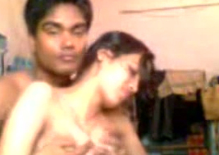 Horny dark skinned Hindu BF plays far suckable large boobies of his GF