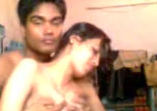Horny dark skinned Hindu BF plays far suckable large boobies of his GF