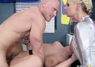With gigantic hooters gets the pleasure distance from pussy going to bed with Johnny Sins as if never before
