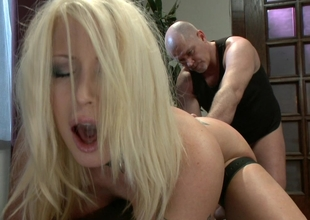 Submissive housewife gets drilled relative to rub-down the ass